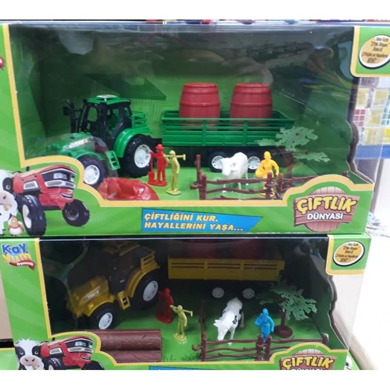 Toptan Ciftlik Dunyası Buyuk Set Traktorlu