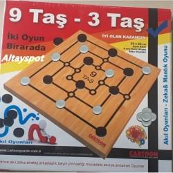 Toptan 9 Taş Ve 3 Taş Oyunu Ahşap