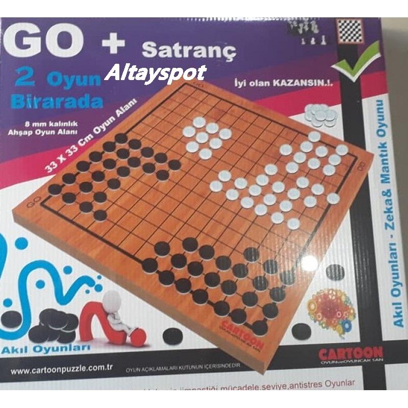Toptan Go Ve Satranç 2 Oyun Bir Arada Ahşap