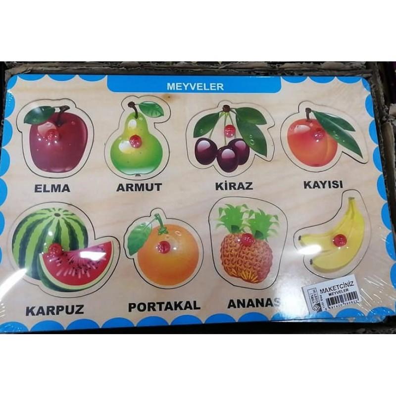 Toptan Tutmalı Ahşap Yapboz Meyveler