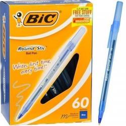 Toptan Bic Round Stic Tükenmez Kalem 60 lı Mavi