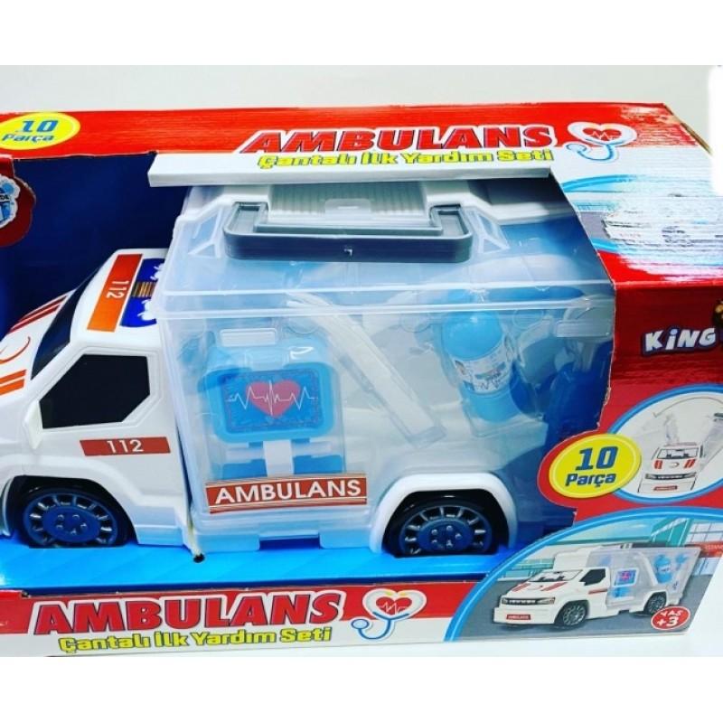 Toptan Oyuncak Kutulu Ambulans Doktor Seti 10 Parça