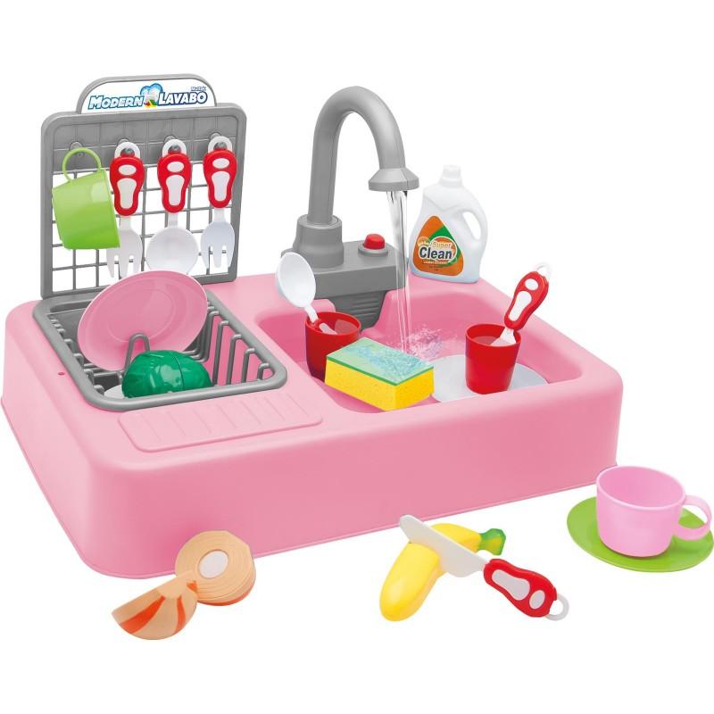 Toptan Oyuncak Modern Çeşmeli Lavabo Set Pilli Mutfak Seti Oyuncak