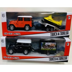 Toptan Metal Jeep Çekicili Kutulu Oyuncak
