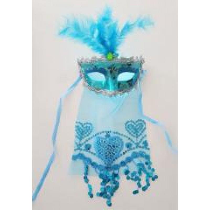 Toptan Tüylü Ve Taşlı Mavi Parti Maske